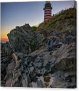 Dusk At West Quoddy Head Lighthouse Canvas Print