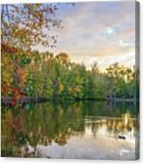 Dusk On Autumn Lake  Canvas Print