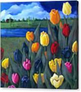 Dutch Tulips With Landscape Canvas Print