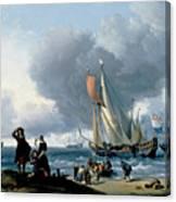 Dutchman Embarking Onto A Yacht Canvas Print