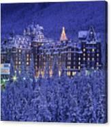 D.wiggett Banff Springs Hotel In Winter Canvas Print