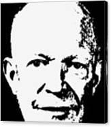 Dwight D. Eisenhower White On Black Pop Art Canvas Print