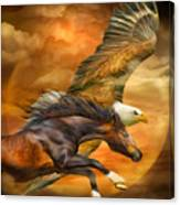 Eagle And Horse - Spirits Of The Wind Canvas Print