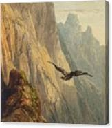 Eagle Circling Before A Cliff Face Canvas Print