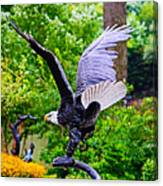 Eagle In The Garden Canvas Print