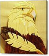 Eaglehead With Two Feathers Canvas Print
