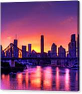 Early Brisbane Sunset With Purple And Yellow Sky Canvas Print