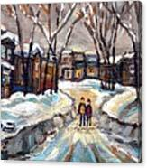 Original Montreal Paintings For Sale Winter Walk After The Snowfall Exceptional Canadian Art Spandau Canvas Print
