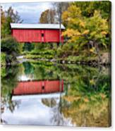 Early Fall Colors Surround A Covered Bridge In Vermont Canvas Print