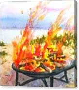 Early Morning Beach Bonfire Canvas Print