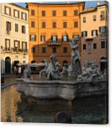 Early Morning Glow - Neptune Fountain On Piazza Navona In Rome Italy Canvas Print