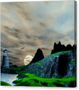 Early Morning Ocean Lighthouse Scene Canvas Print