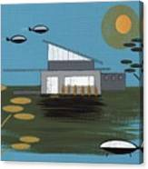 Early Painting Futuristic House Canvas Print