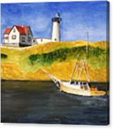 East Coast Lighthouse With Crab Boat Canvas Print