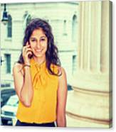 East Indian Woman Calling Outside Canvas Print