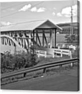East St. Claire Covered Bridge Black And White Canvas Print