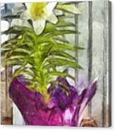 Easter Lily And Doll Canvas Print