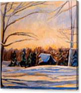 Eastern Townships In Winter Canvas Print
