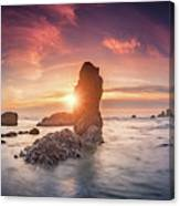 Ecola State Park Beach Sunset Pano Canvas Print