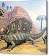 Edaphosaurus Dinosaur - 3d Render Canvas Print