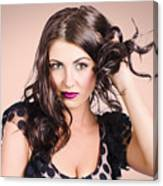Edgy Hair Fashion Model With Brunette Hairstyle Canvas Print