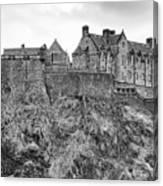 Edinburgh Castle Bw Canvas Print