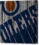 Edmonton Oilers Wood Fence Canvas Print