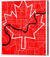 Edmonton Street Map - Edmonton Canada Road Map Art On Canada Flag Symbols Canvas Print