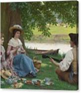 Edmund Blair Leighton 1852-1922 A Picnic Party Canvas Print