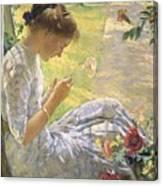Edmund Charles Tarbell - Mercie Cutting Flowers 1912 Canvas Print