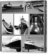 Edmund Fitzgerald Black And White Canvas Print