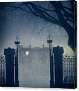 Eerie Mansion In Fog At Night Canvas Print