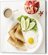 Egg Salad Toast Fruit And Coffee Breakfast Set Canvas Print