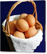 Eggs In A Wicker Basket. Canvas Print
