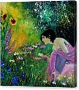 Eglantine With Flowers Canvas Print