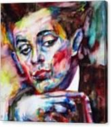 Egon Schiele - Watercolor Portrait.2 Canvas Print