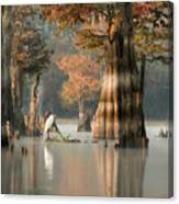 Egret Enjoying Foggy Morning In Atchafalaya Canvas Print