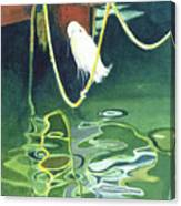 Egret On A Rope Canvas Print