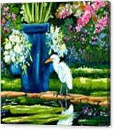Egret Visits Goldfish Pond Canvas Print