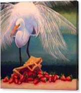 Egret With Strawberry Bag Canvas Print