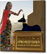 Egyptian Woman And Anubis Statue Canvas Print