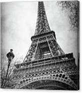 Eiffel Tower And Lamp Post Bw Canvas Print