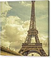 Eiffel Tower And Pont D'lena Vintage Canvas Print