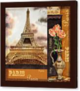 Eiffel Tower And Roses Canvas Print