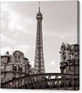 Eiffel Tower Black And White 3 Canvas Print