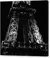 Eiffel Tower Illuminated At Night First And Second Decks Paris France Black And White Canvas Print