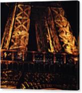 Eiffel Tower Illuminated At Night First Floor Deck Paris France Canvas Print