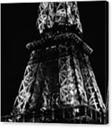 Eiffel Tower Illuminated Midsection At Night Paris France Black And White Canvas Print