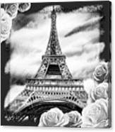 Eiffel Tower In Black And White Design IIi Canvas Print