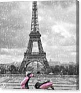 Eiffel Tower In The Rain With Pink Scooter Of Paris. Black And W Canvas Print